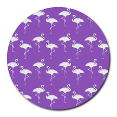 Flamingo White On Lavender Pattern 8  Mouse Pad (round) by CrypticFragmentsColors