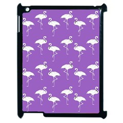 Flamingo White On Lavender Pattern Apple Ipad 2 Case (black) by CrypticFragmentsColors
