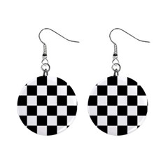 Checkered Flag Race Winner Mosaic Tile Pattern Mini Button Earrings by CrypticFragmentsColors