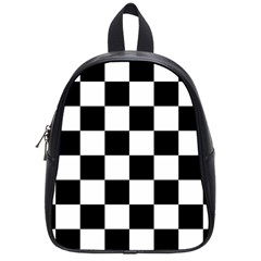 Checkered Flag Race Winner Mosaic Tile Pattern School Bag (small) by CrypticFragmentsColors