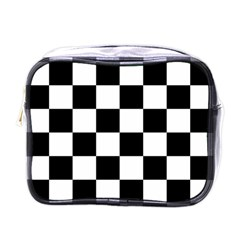 Checkered Flag Race Winner Mosaic Tile Pattern Mini Travel Toiletry Bag (one Side) by CrypticFragmentsColors