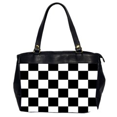 Checkered Flag Race Winner Mosaic Tile Pattern Oversize Office Handbag (two Sides) by CrypticFragmentsColors
