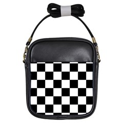 Checkered Flag Race Winner Mosaic Tile Pattern Girl s Sling Bag by CrypticFragmentsColors