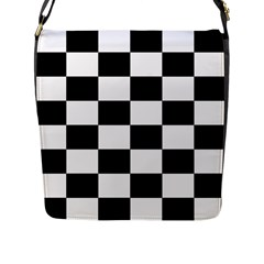 Checkered Flag Race Winner Mosaic Tile Pattern Flap Closure Messenger Bag (large) by CrypticFragmentsColors