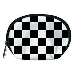 Checkered Flag Race Winner Mosaic Tile Pattern Accessory Pouch (medium) by CrypticFragmentsColors