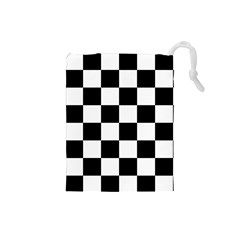 Checkered Flag Race Winner Mosaic Tile Pattern Drawstring Pouch (small) by CrypticFragmentsColors