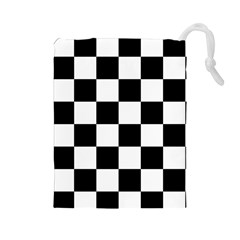 Checkered Flag Race Winner Mosaic Tile Pattern Drawstring Pouch (large) by CrypticFragmentsColors