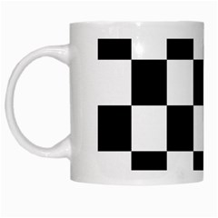 Checkered Flag Race Winner Mosaic Tile Pattern White Coffee Mug by CrypticFragmentsColors