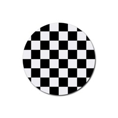 Checkered Flag Race Winner Mosaic Tile Pattern Drink Coaster (round) by CrypticFragmentsColors