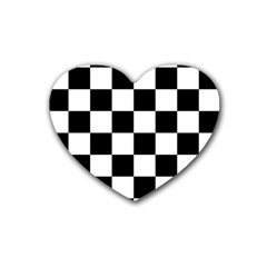 Checkered Flag Race Winner Mosaic Tile Pattern Drink Coasters 4 Pack (heart)  by CrypticFragmentsColors