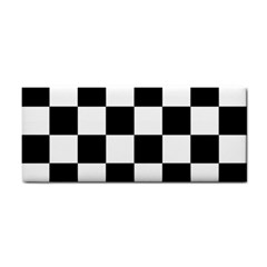 Checkered Flag Race Winner Mosaic Tile Pattern Hand Towel by CrypticFragmentsColors