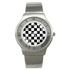 Checkered Flag Race Winner Mosaic Tile Pattern Stainless Steel Watch (slim) by CrypticFragmentsColors