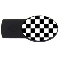 Checkered Flag Race Winner Mosaic Tile Pattern 4gb Usb Flash Drive (oval) by CrypticFragmentsColors