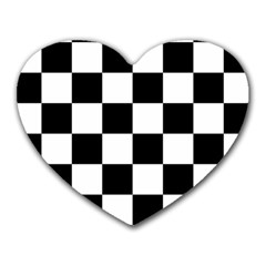 Checkered Flag Race Winner Mosaic Tile Pattern Mouse Pad (heart) by CrypticFragmentsColors