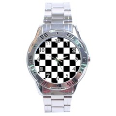Checkered Flag Race Winner Mosaic Tile Pattern Stainless Steel Watch by CrypticFragmentsColors