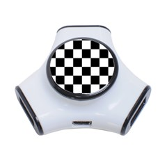 Checkered Flag Race Winner Mosaic Tile Pattern 3 Port Usb Hub by CrypticFragmentsColors