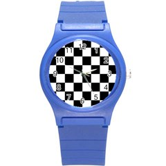 Checkered Flag Race Winner Mosaic Tile Pattern Plastic Sport Watch (small) by CrypticFragmentsColors