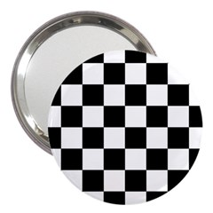 Checkered Flag Race Winner Mosaic Tile Pattern 3  Handbag Mirror by CrypticFragmentsColors