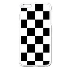 Checkered Flag Race Winner Mosaic Tile Pattern Apple Iphone 6 Plus Enamel White Case by CrypticFragmentsColors