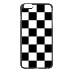 Checkered Flag Race Winner Mosaic Tile Pattern Apple Iphone 6 Plus Black Enamel Case by CrypticFragmentsColors