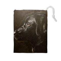 Black Lab Drawstring Pouch (large)