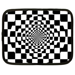 Checkered Flag Race Winner Mosaic Tile Pattern Repeat Netbook Sleeve (large) by CrypticFragmentsColors