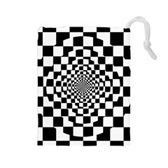 Checkered Flag Race Winner Mosaic Tile Pattern Repeat Drawstring Pouch (large) by CrypticFragmentsColors