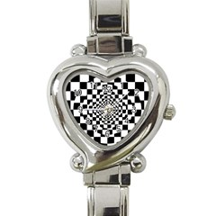 Checkered Flag Race Winner Mosaic Tile Pattern Repeat Heart Italian Charm Watch  by CrypticFragmentsColors