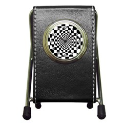 Checkered Flag Race Winner Mosaic Tile Pattern Repeat Stationery Holder Clock by CrypticFragmentsColors