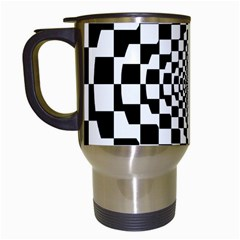 Checkered Flag Race Winner Mosaic Tile Pattern Repeat Travel Mug (white) by CrypticFragmentsColors