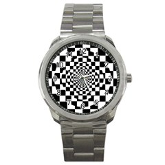 Checkered Flag Race Winner Mosaic Tile Pattern Repeat Sport Metal Watch by CrypticFragmentsColors