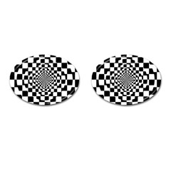 Checkered Flag Race Winner Mosaic Tile Pattern Repeat Cufflinks (oval) by CrypticFragmentsColors