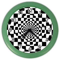 Checkered Flag Race Winner Mosaic Tile Pattern Repeat Wall Clock (color)