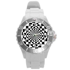 Checkered Flag Race Winner Mosaic Tile Pattern Repeat Plastic Sport Watch (large) by CrypticFragmentsColors