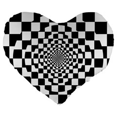 Checkered Flag Race Winner Mosaic Tile Pattern Repeat 19  Premium Flano Heart Shape Cushion by CrypticFragmentsColors