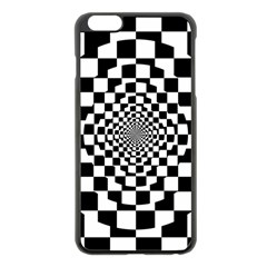 Checkered Flag Race Winner Mosaic Tile Pattern Repeat Apple Iphone 6 Plus Black Enamel Case by CrypticFragmentsColors