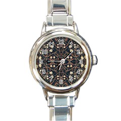 Victorian Style Grunge Pattern Round Italian Charm Watch by dflcprints