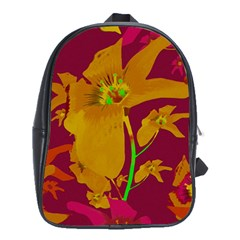 Tropical Hawaiian Style Lilies Collage School Bag (large) by dflcprints