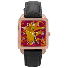 Tropical Hawaiian Style Lilies Collage Rose Gold Leather Watch  by dflcprints