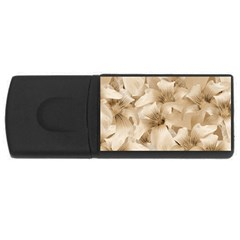 Elegant Floral Pattern In Light Beige Tones 4gb Usb Flash Drive (rectangle) by dflcprints
