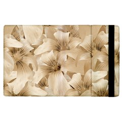 Elegant Floral Pattern In Light Beige Tones Apple Ipad 2 Flip Case by dflcprints