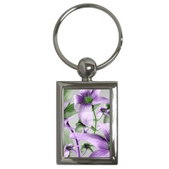 Lilies Collage Art In Green And Violet Colors Key Chain (rectangle) by dflcprints