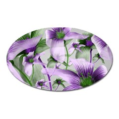 Lilies Collage Art In Green And Violet Colors Magnet (oval)