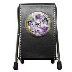 Lilies Collage Art In Green And Violet Colors Stationery Holder Clock by dflcprints