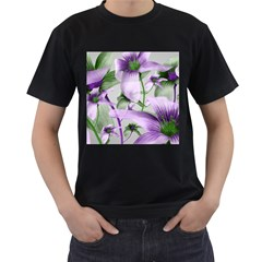Lilies Collage Art In Green And Violet Colors Men s T-shirt (black) by dflcprints