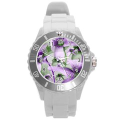 Lilies Collage Art In Green And Violet Colors Plastic Sport Watch (large) by dflcprints