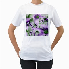 Lilies Collage Art In Green And Violet Colors Women s T-shirt (white)  by dflcprints