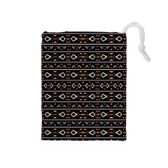 Tribal Dark Geometric Pattern03 Drawstring Pouch (medium) by dflcprints