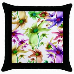 Multicolored Floral Print Pattern Black Throw Pillow Case by dflcprints
