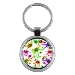 Multicolored Floral Print Pattern Key Chain (round) by dflcprints